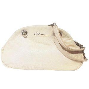 Celine cream leather chain strap shoulder bag